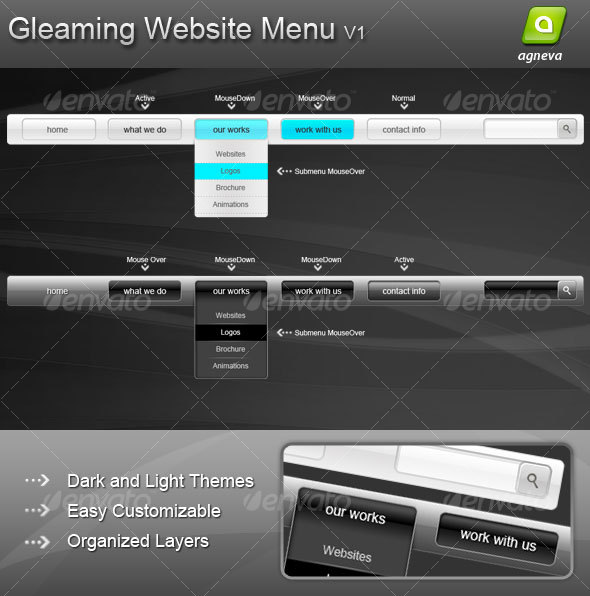 Gleaming Website Menu V1 - Web Elements
