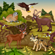 Cartoon Mountain Animals with Landscape - GraphicRiver Item for Sale