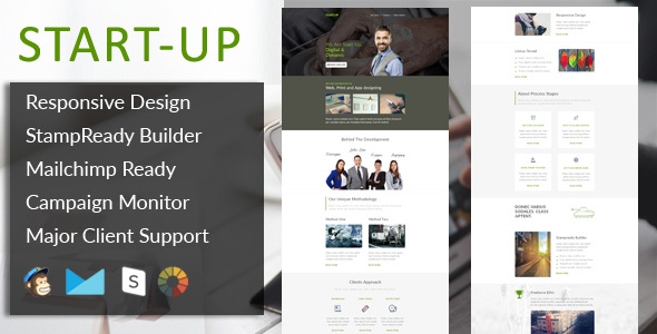StartUp – Multipurpose Responsive Email Template + Stampready Builder
