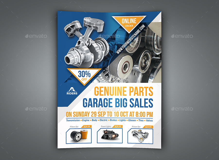 auto parts flyer template by owpictures
