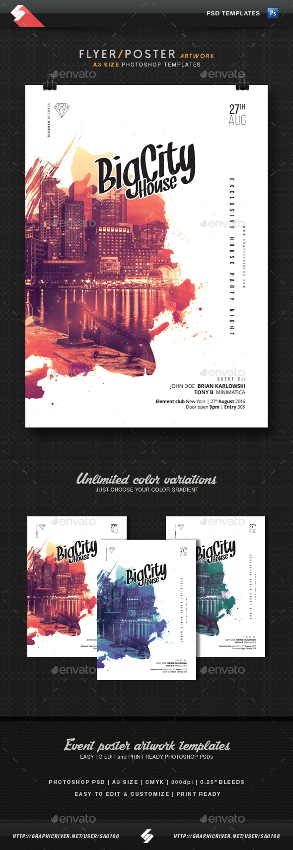 Big city house party flyer template a3 by sao108 graphicriver big city house party flyer template a3 clubs parties events saigontimesfo