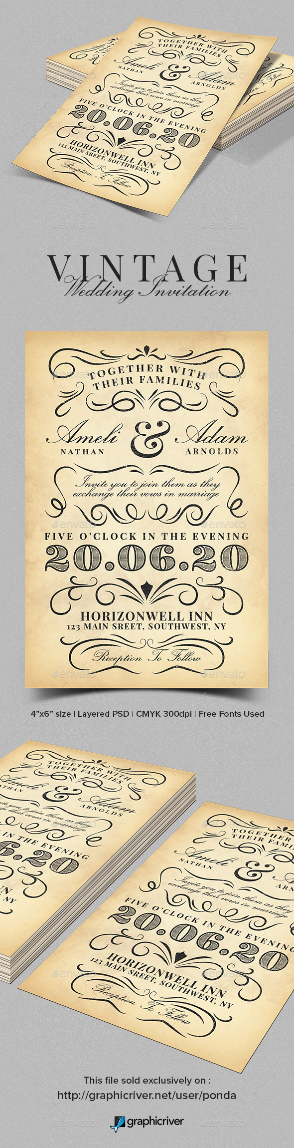 Vintage Wedding Invitation Template by JunPonda | GraphicRiver
