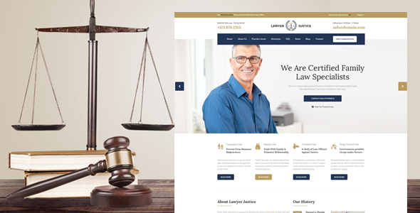 Lawyer & Justice - WordPress Theme for Lawyers Attorneys and Law Firm - Business Corporate