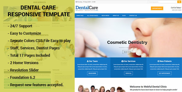 Dental Care – Responsive HTML Template Dentists, Doctors, Clinics