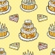 Seamless Pattern With Cakes On Warm Dotted