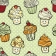 Seamless Pattern With Cute Smiling Cupcakes - GraphicRiver Item for Sale