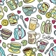 Seamless Pattern With Doodle Tea Accessories