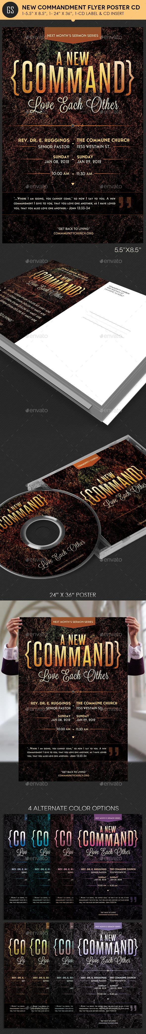 New Commandment Flyer Poster CD Template - Church Flyers