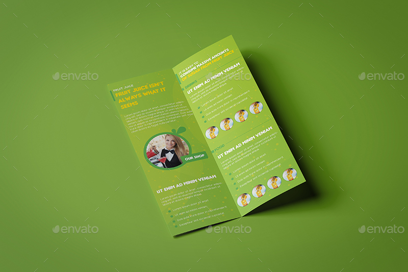 Fruit Juice Shop Takeout Brochure And Mini Menu Template By Wutip - Mini brochure template