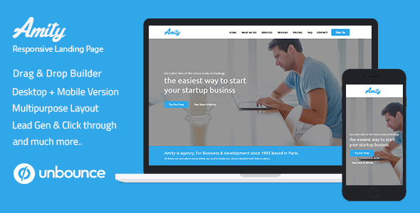 Multi-Purpose Template with Unbounce Page Builder - Amity