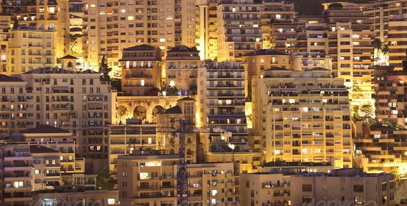 Night view of Monaco - Stock Photo - Images