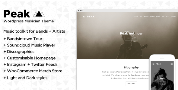 Peak Musician and Band – Music WordPress Theme