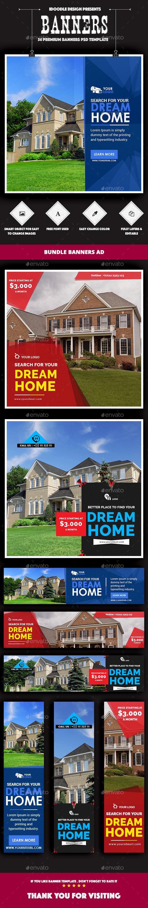 Bundle Real Estate Banners Ads - 54 PSD [03 Sets]