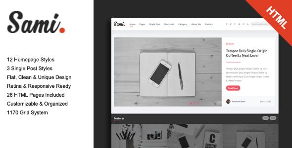 Sami – Premium Blog/Magazine HTML Template
