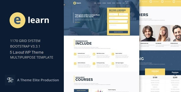 e-Learn – Onepage Bootstrap Education WordPress Theme