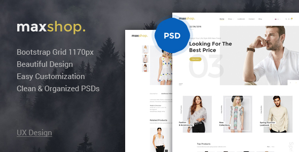Maxshop – Elegant Fashion PSD Template