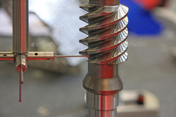 Dimensional inspection systems and surface finish in metal - Stock Photo - Images