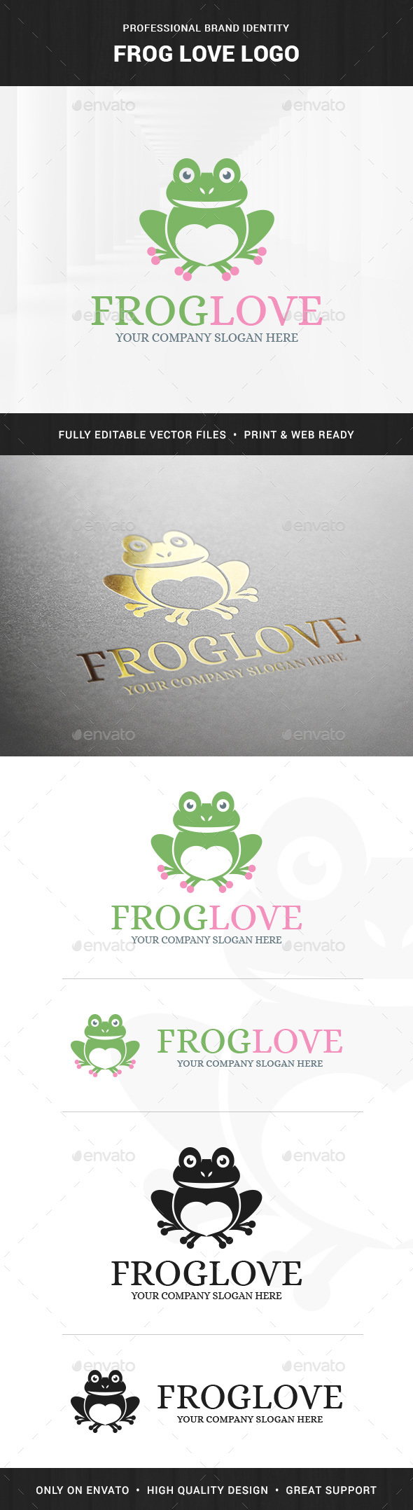 Frog Love Logo Template - Animals Logo Templates
