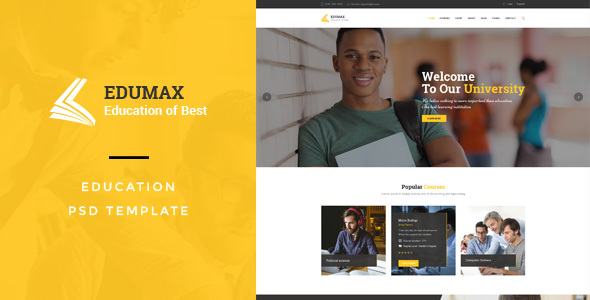 EduMax : Education & CoursesPSD Template