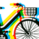 Bicycle with Basket and Seamless Pattern - GraphicRiver Item for Sale