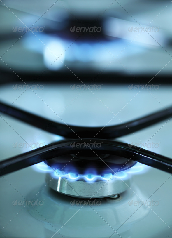 Gas stove flames - Stock Photo - Images