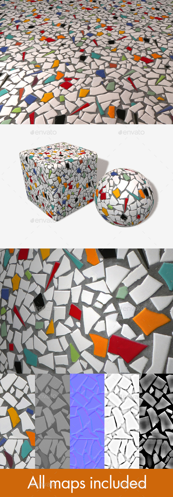 Cracked Mosaic Tile Seamless Texture - 3DOcean Item for Sale