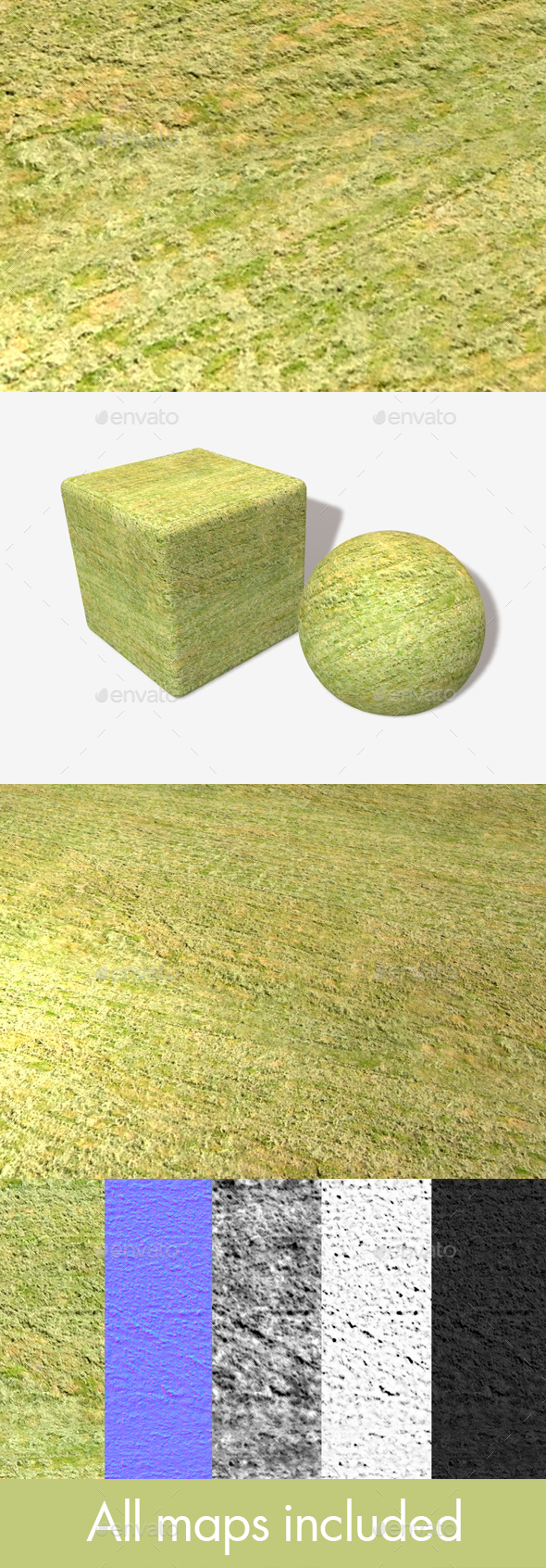 High Angle Cut Grass Field Seamless Texture - 3DOcean Item for Sale