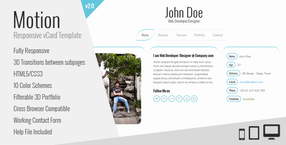 Resume / CV & vCard Template - Motion