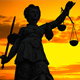 Statue of Lady Justice With a Colorful Sunset Background - VideoHive Item for Sale