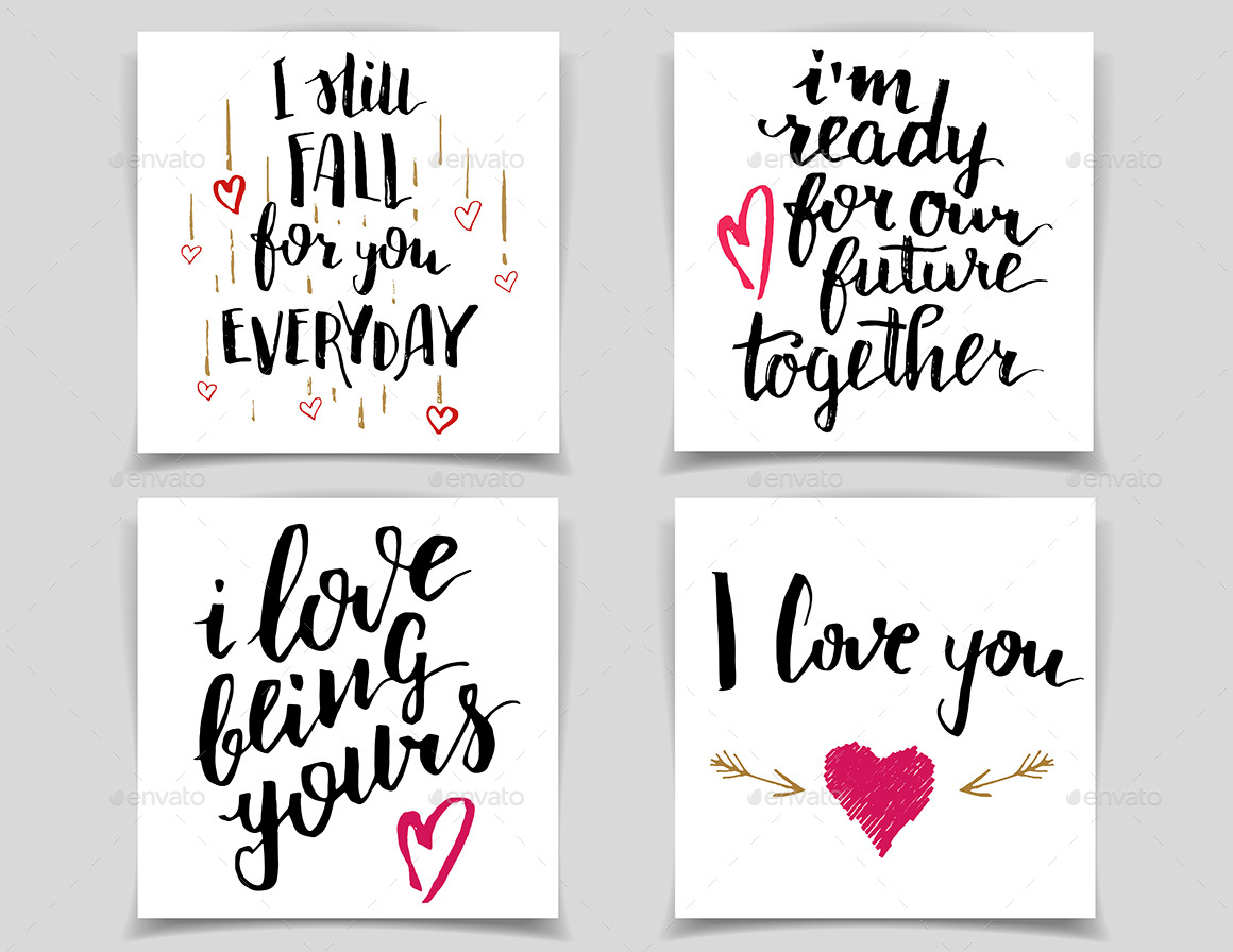 Brush lettering love quotes and phrases by