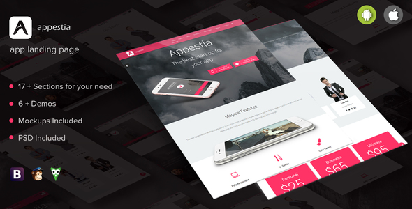 Appestia – app landing page