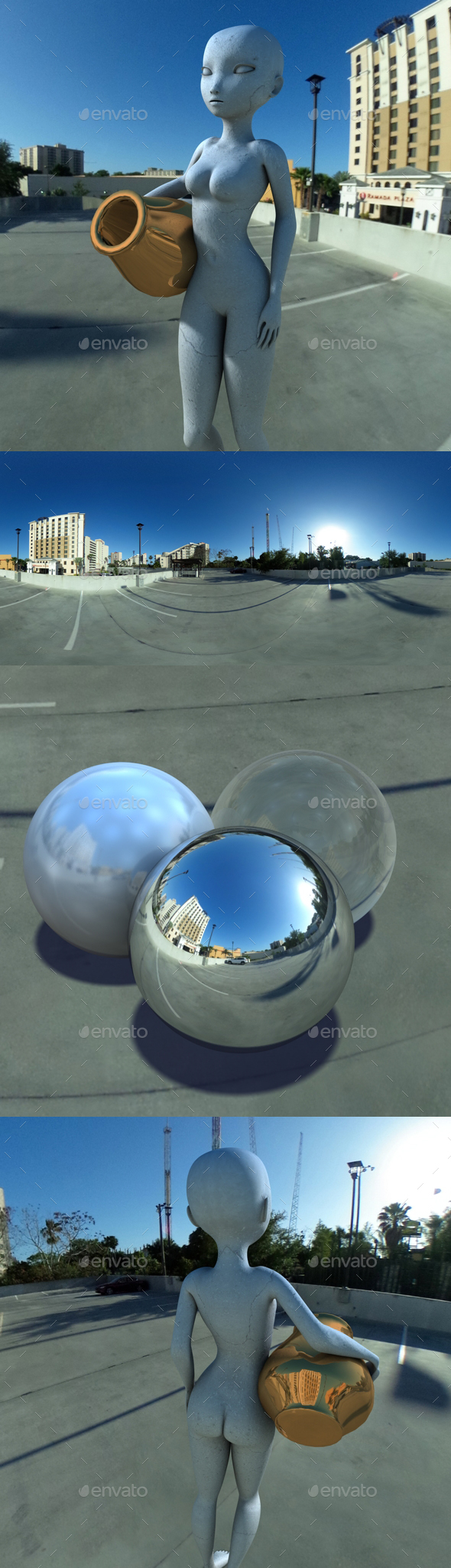 Hotel Rooftop Carpark HDRI - 3DOcean Item for Sale