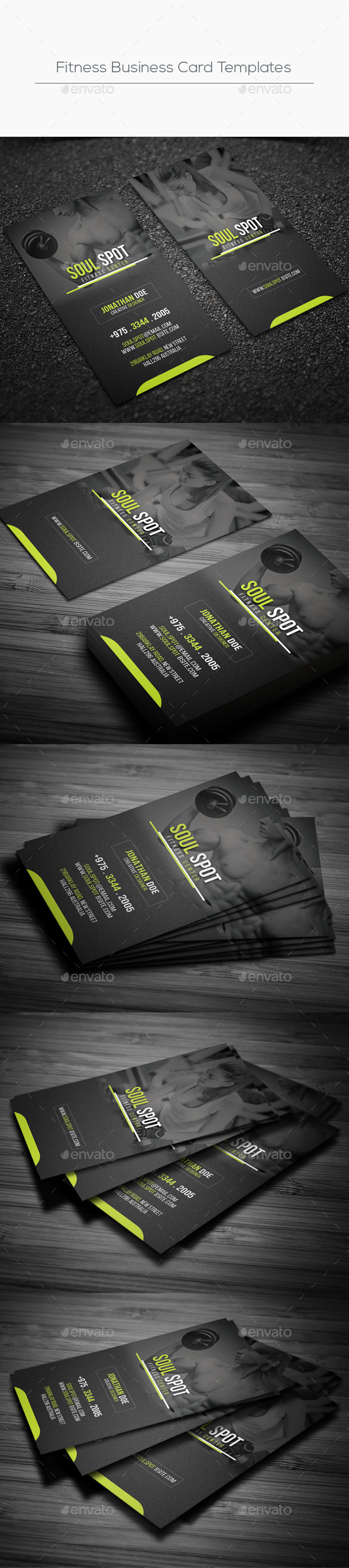 Fitness Business Card Templates By Designsoul GraphicRiver - Fitness business card template