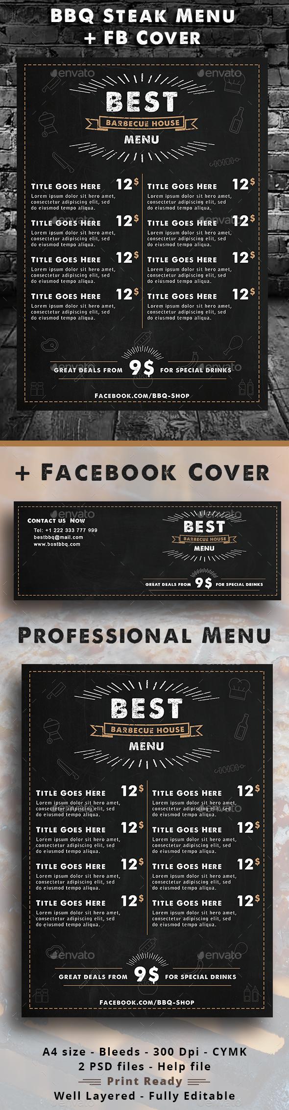 BBQ Steak Menu - Food Menus Print Templates