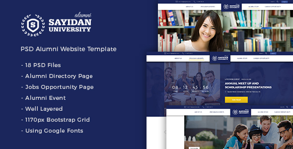 Sayidan – University Alumni PSD Template