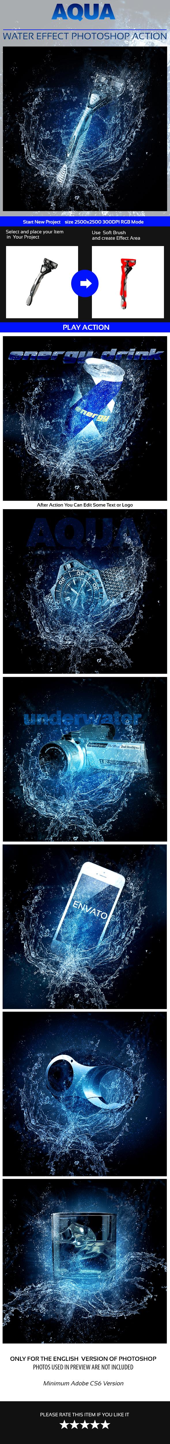 Aqua Photoshop Action - Actions Photoshop