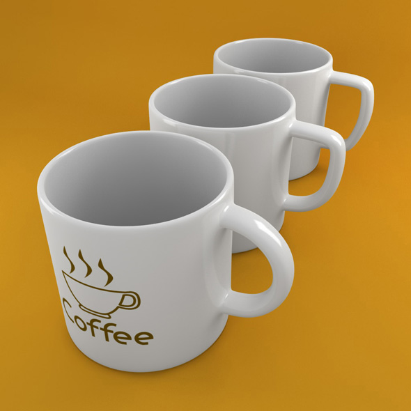 3x Coffee Tea Cup 002 - 3DOcean Item for Sale