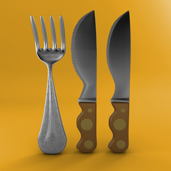 Cartoon - Fork - Knife - Toothed Knife - 3DOcean Item for Sale