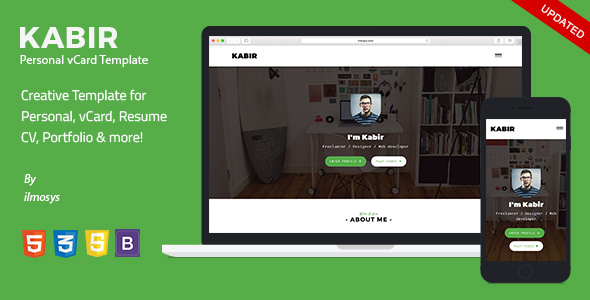 Personal vCard Template - Kabir - Virtual Business Card Personal
