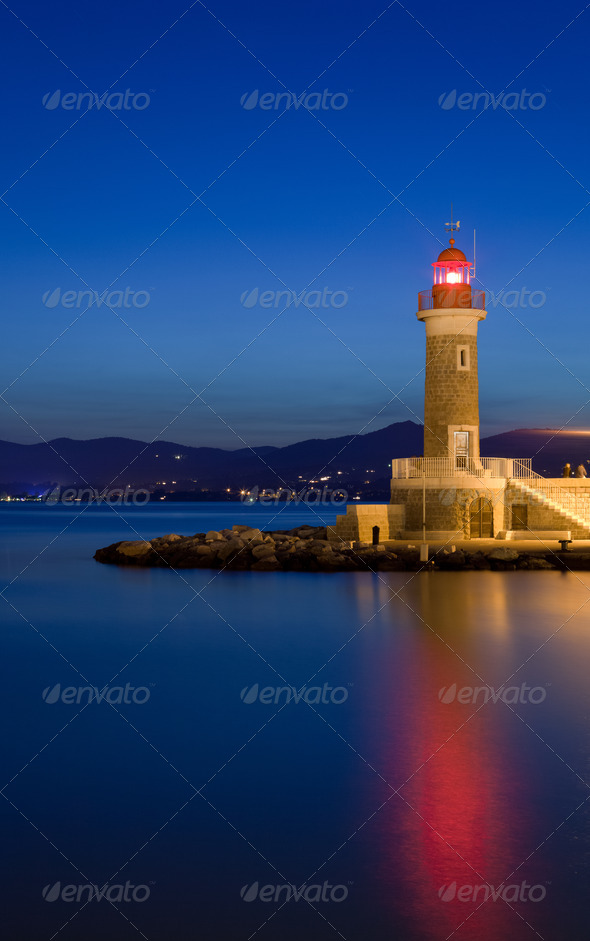 Lighthouse at dusk - Stock Photo - Images
