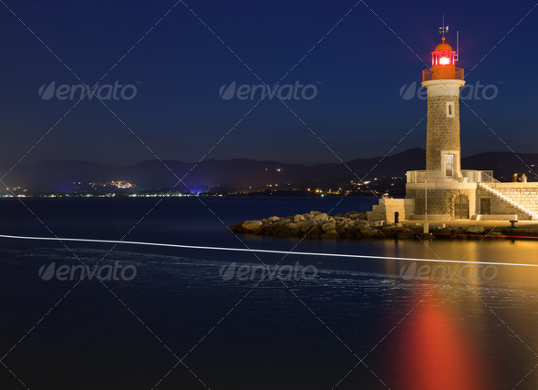 Lighthouse at dusk in Saint-Tropez, France - Stock Photo - Images