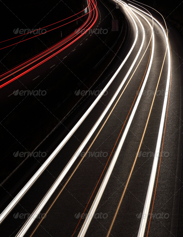 Night highway (Cars in a rush moving fast on a highway (speedway - Stock Photo - Images