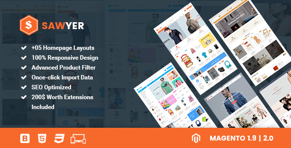 Sawyer – Multipurpose Responsive Magento 2 and 1.9 Theme