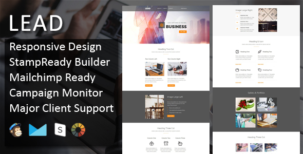 LEAD - Multipurpose Responsive Email Template + Stampready Builder - Email Templates Marketing