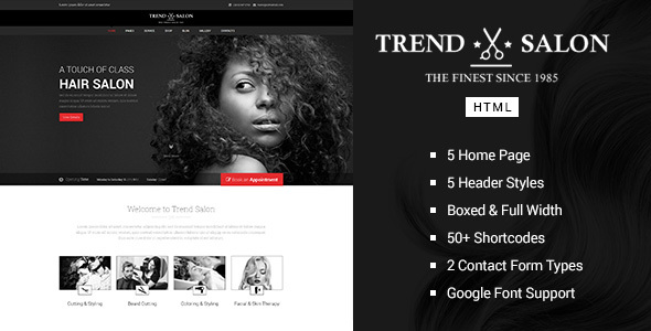 Trend Salon - Barbershop HTML Template
