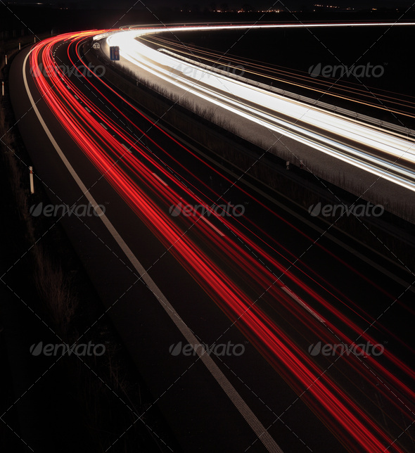 Night highway (Cars in a rush moving fast on a highway  (speedwa - Stock Photo - Images