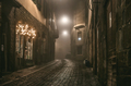 Old European narrow empty street of medieval town - PhotoDune Item for Sale