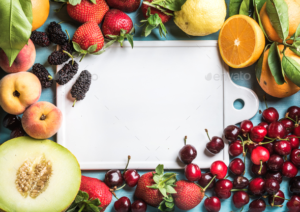 Healthy summer fruit background. Copy space - Stock Photo - Images