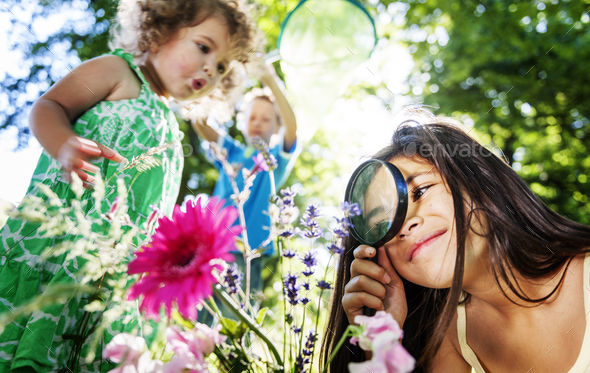Children Flower Holiday Friendship Playful Summer Concept - Stock Photo - Images