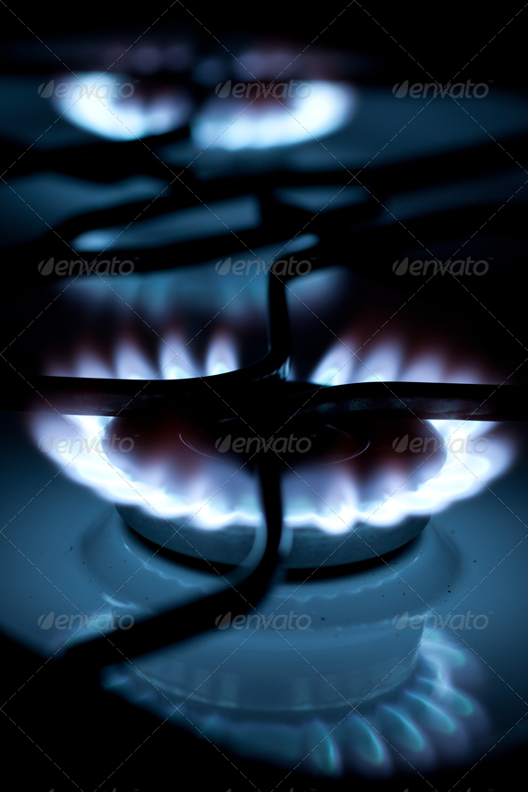 flames of gas stove (shallow DOF) - Stock Photo - Images